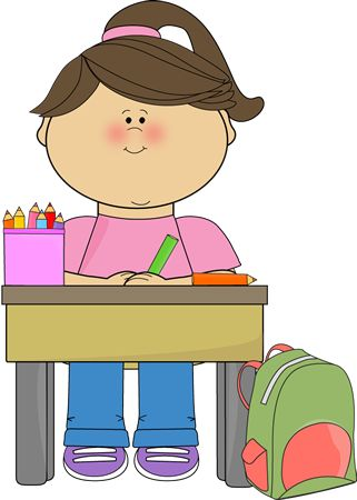 Girl working at desk clipart.
