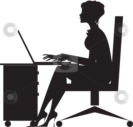 Working At Desk Clipart.