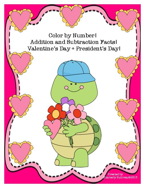 Math Valentine's Day + President's Day Color by Number! Morning.