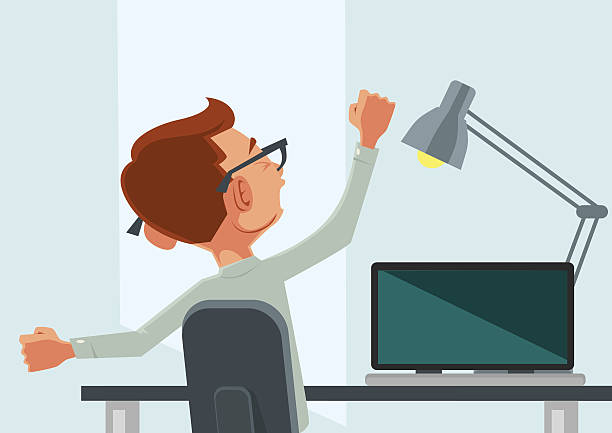 Business Work Overtime To Early Morning Clip Art, Vector Images.