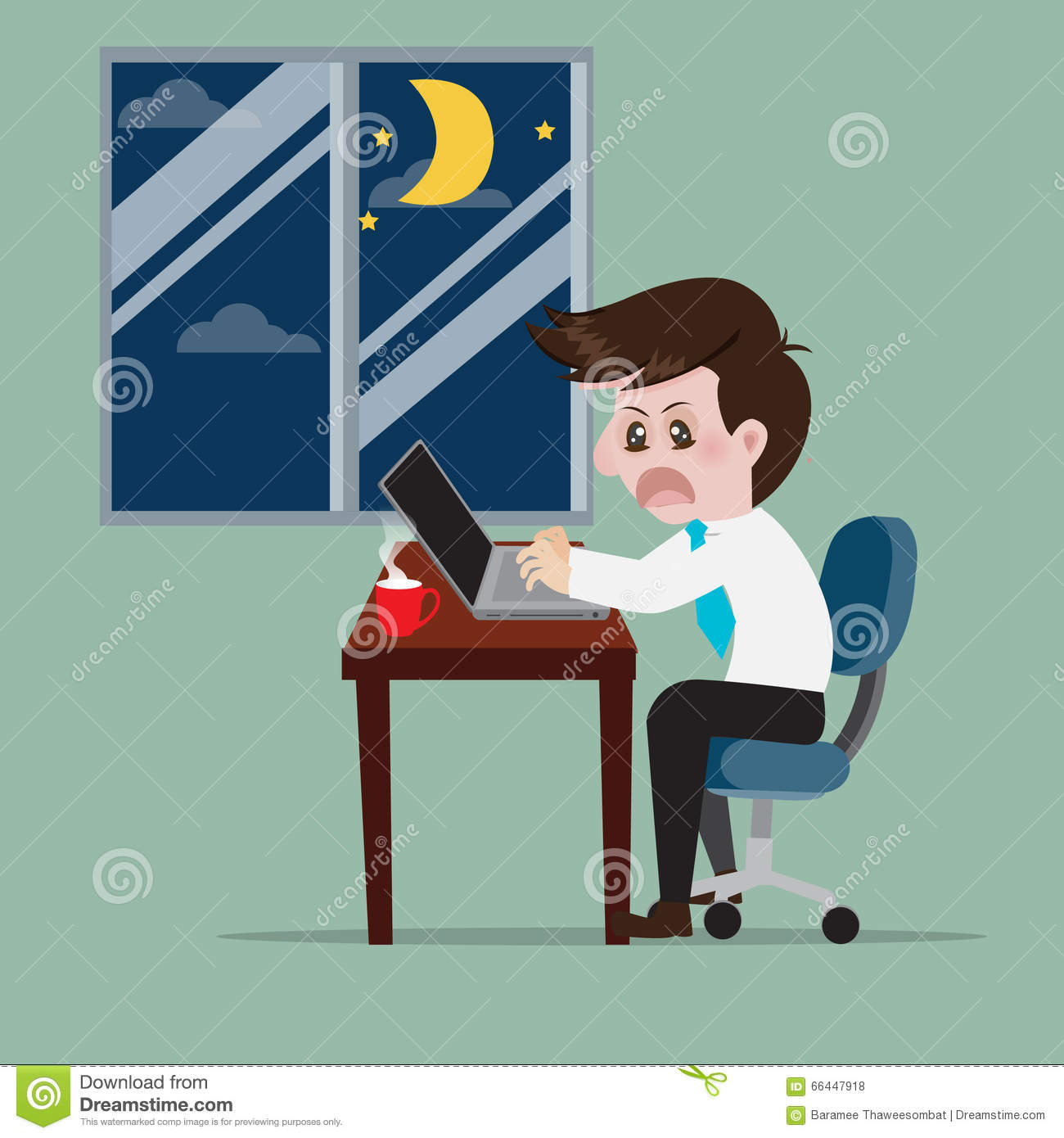 Business Work Overtime To Early Morning. Stock Vector.