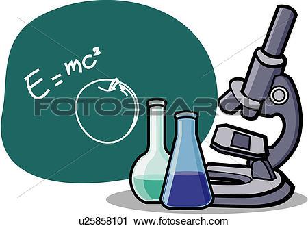 Clipart of microscope, laboratory work, equipment, experimentation.
