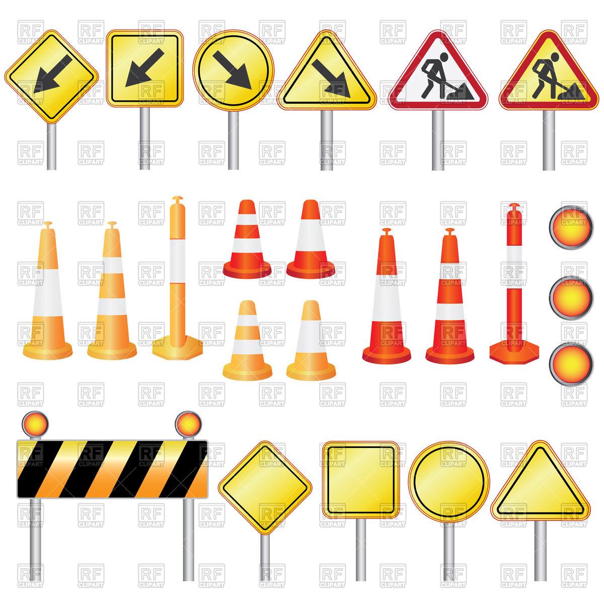 Traffic equipment for road work.
