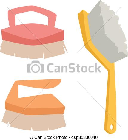 EPS Vector of Vector cleaning brush icon flat modern design house.