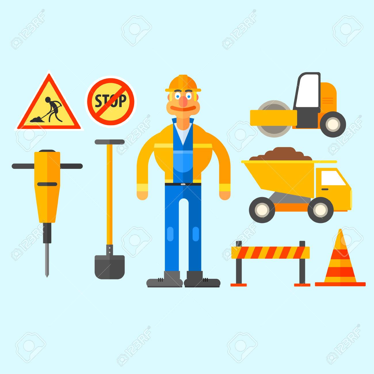Road Repair Work, Equipment To Repair Roads And Work In The Form.