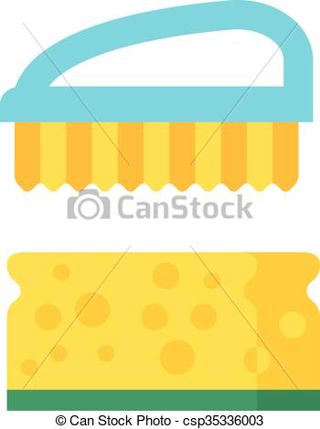 Vector Clipart of Vector cleaning brush icon flat modern design.