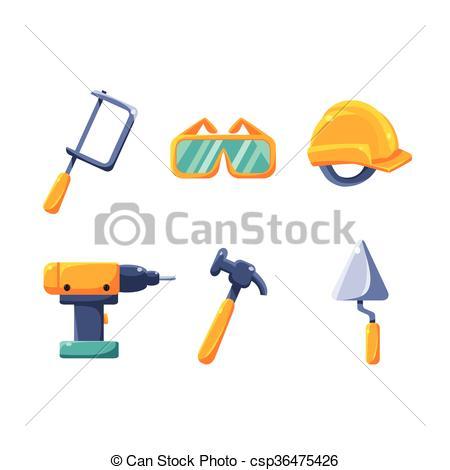 Vector Illustration of Construction Work Equipment Set Of Flat.
