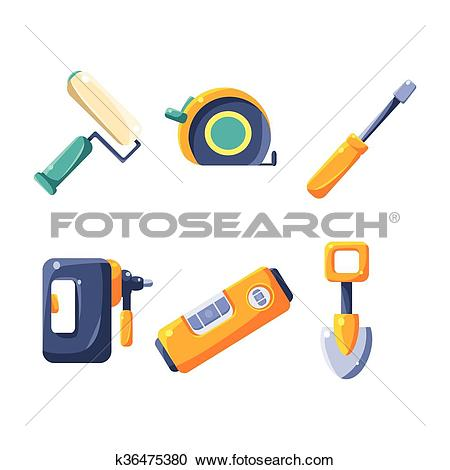 Clipart of Construction Work Equipment Collection k36475380.