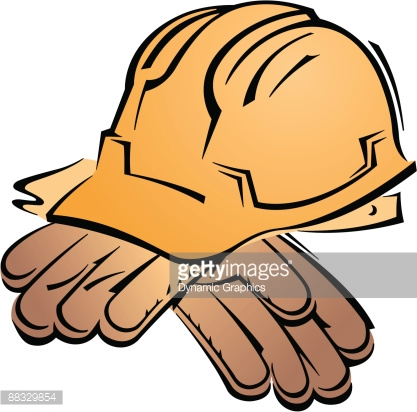 Hard Hat And Work Gloves Color Grouped Elements Vector Art.