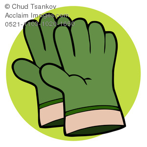 Royalty Free Clipart Image: Work Gloves Or a Pair of Gardening Globes.