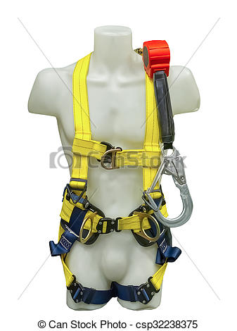 Picture of Mannequin in safety harness equipment and lanyard for.