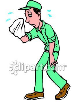 Royalty Free Clip Art Image: Tired, Sweating Handyman.