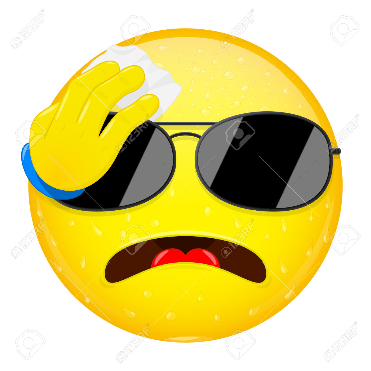 Emoji Wipes The Sweat With A Handkerchief. Hard Work, Heat.