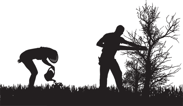 Silhouette of People Who Work in the Garden.