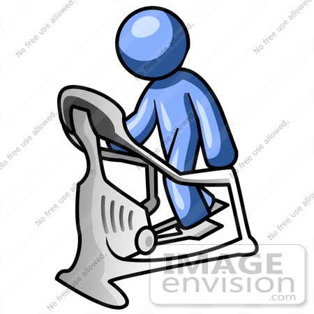 Clip Art Graphic of a Blue Guy Character Working Out On A Stair.