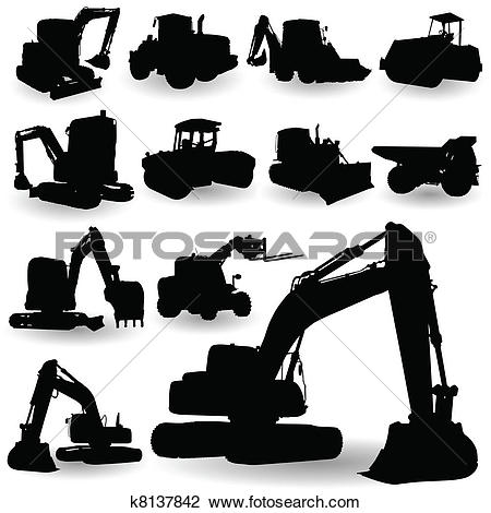 Clipart of construction work machine silhouette k8137842.
