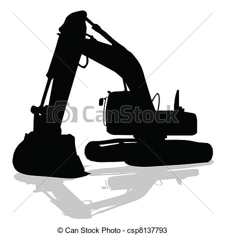 Vectors of digger work machine black silhouette on white.