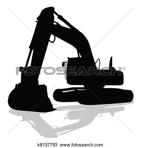Clipart of digger work machine black silhouette k8137793.