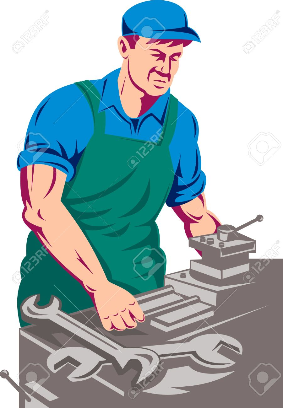 Worker Working On Milling Or Lathe Machine Stock Photo, Picture.