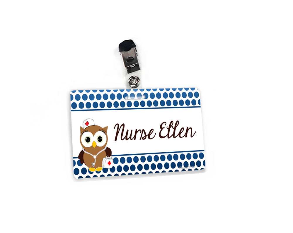 Personalized blue dots owl nurse school name tag.