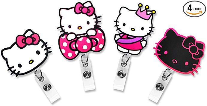 Finex Set of 4 Hello Kitty Badge ID Clip Reel Retractable Holder Office  Work Nurse Name Badge Tag Clip On Card Holders Cute.