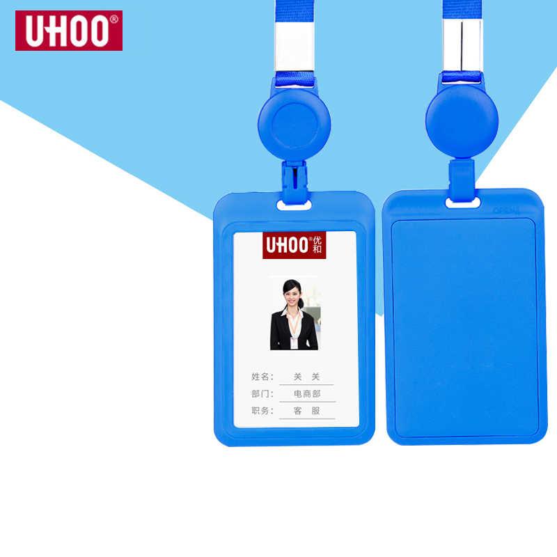 UHOO New Plastic Retractable Neck Strip ID Card Badge Holder.