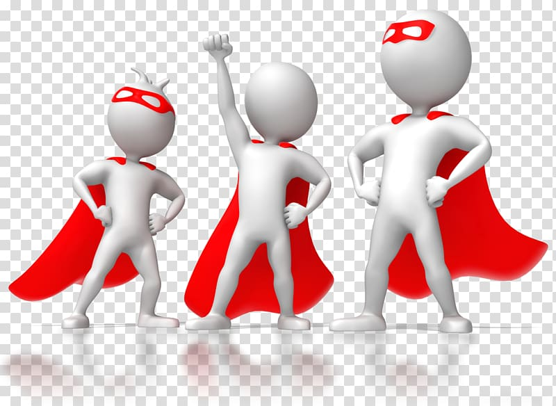 Three persons with capes digital illustrations, Animation.