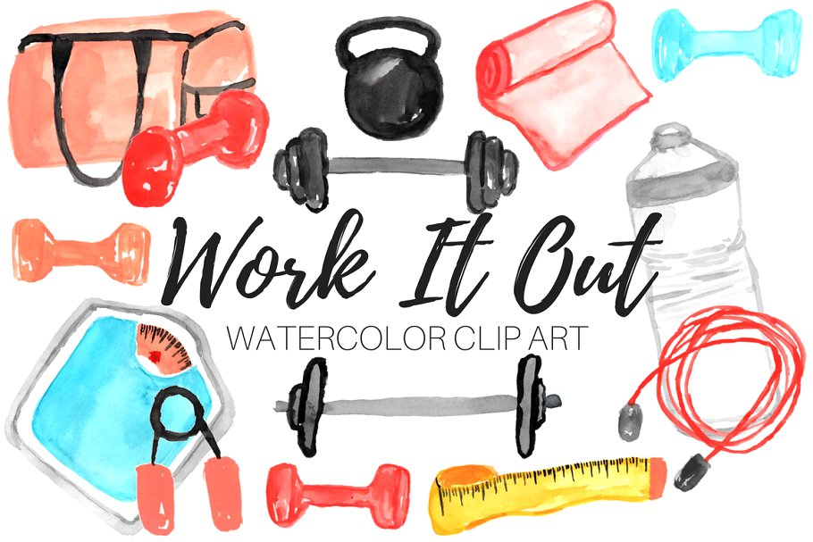 Watercolor Work Out Clip Art.