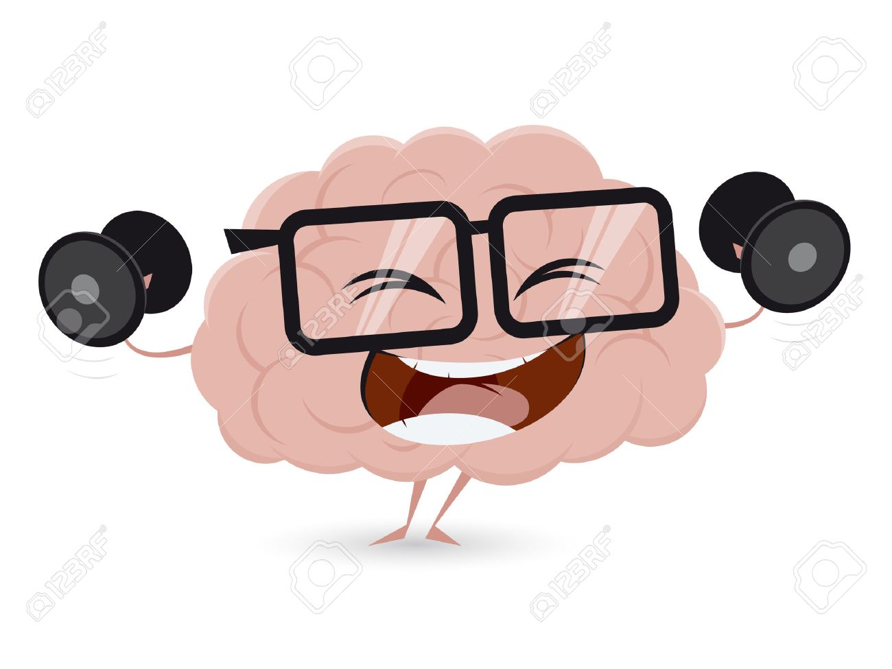 funny brain workout with dumbbells clipart.