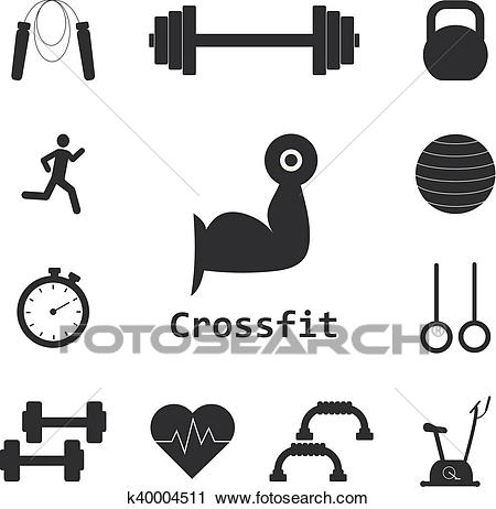 Vector Set of Crossfit Icons. Sport, fitness, gym workout Clipart.