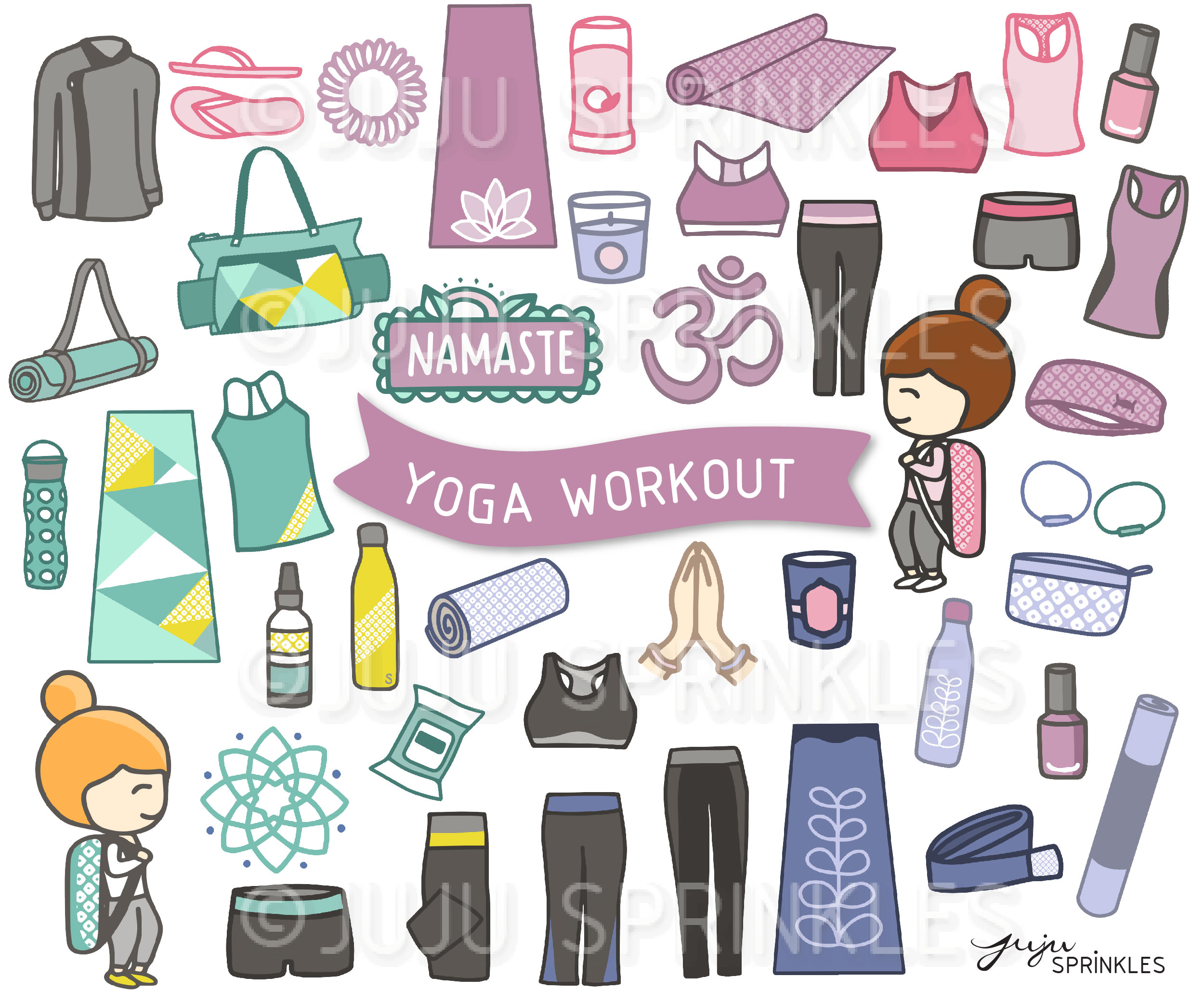 Yoga Workout Clipart and Sticker Set.