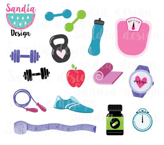 15 Fitness clipart, workout clipart, yoga mat, kettlebell, personal.