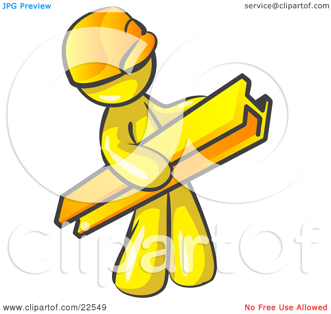 Clipart Illustration of a Yellow Man Construction Worker Wearing A.