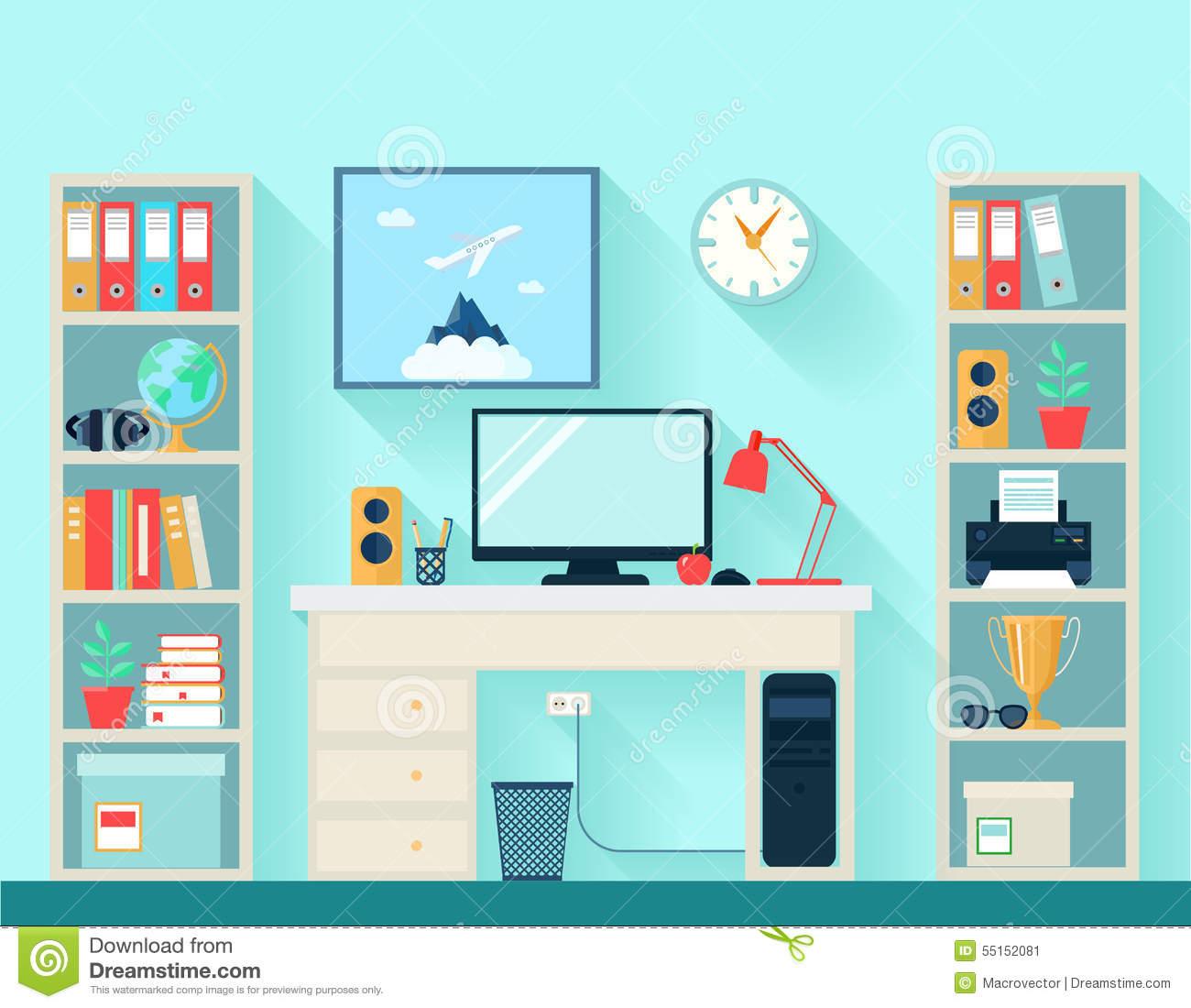 Workspace In Room Stock Vector.