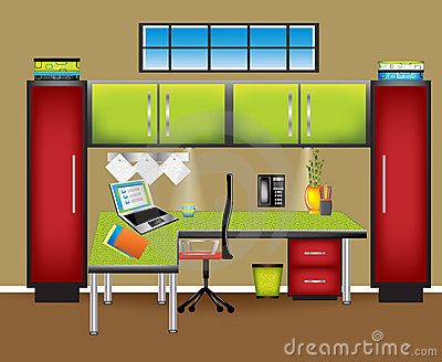 Colorful Office Workspace Royalty Free Stock Photo.