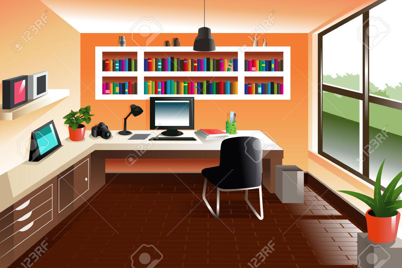 Illustration Of Modern Looking Workspace Desk Royalty Free.