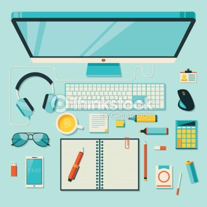 Flat Vector Illustration Of Office Workspace Vector Art.