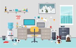 Designer Workspace In The Work Room Stock Vector.
