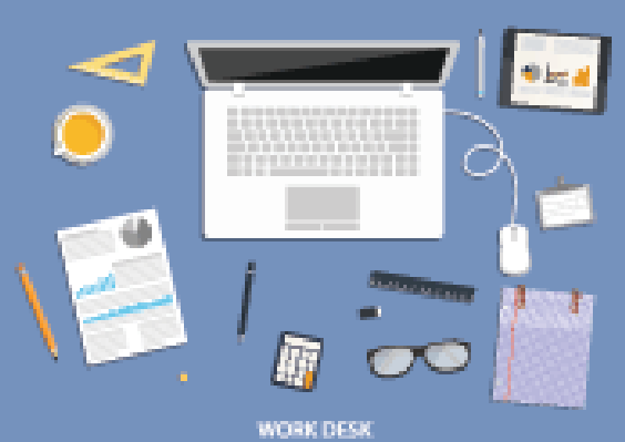 Workspace, Flat Desktop Design with Business Icons.