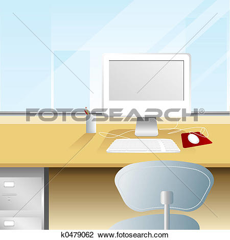 Clip Art of Workspace with a View k0479062.