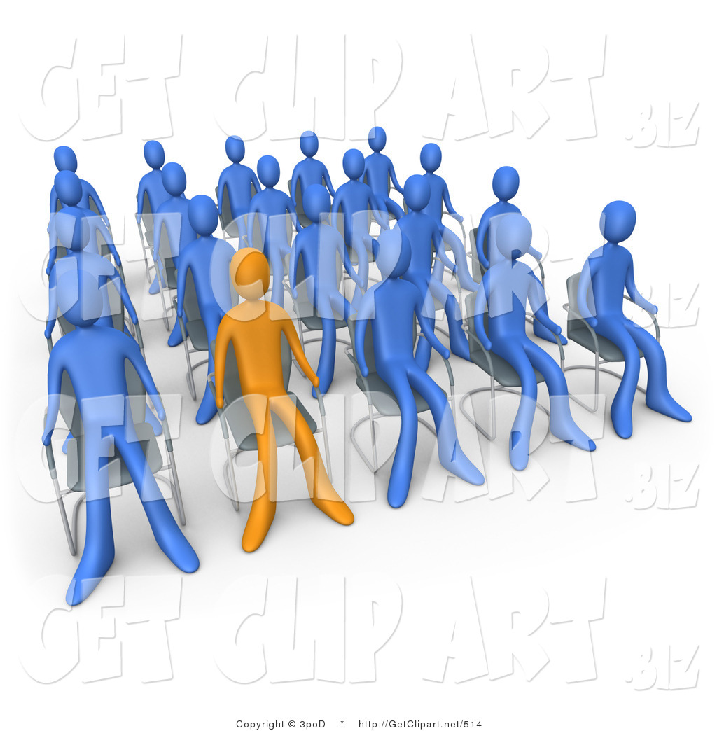 3d Clip Art of an Orange Person Standing out in a Crowd of.