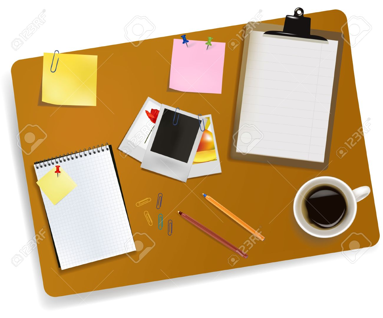 Desk Office Supplies Clip Art.