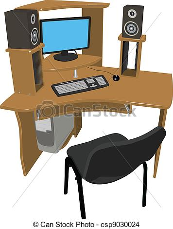 Work at table clipart.