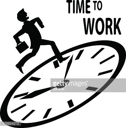 Time to work Clipart Image.