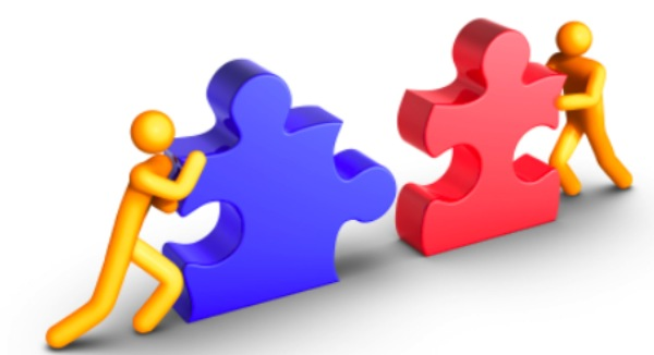 Two People Working Together Clipart.