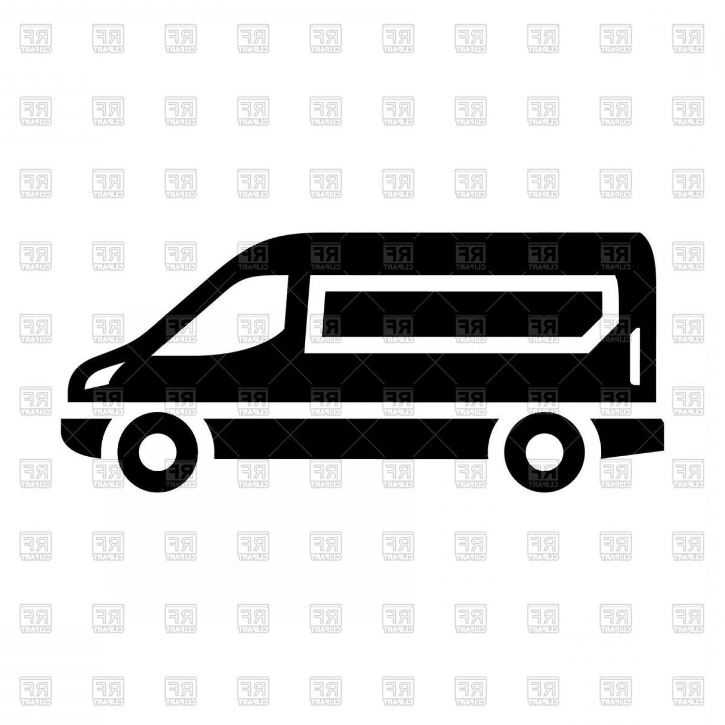 Sprinter Cargo Van Vector: Sprinter Van Black Icon Vector Clipart.