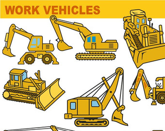 Work vehicles clipart.