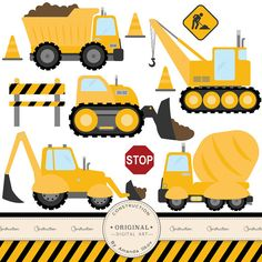 Work Vehicles Silhouettes // Dump Truck Silhouette // Backhoe.