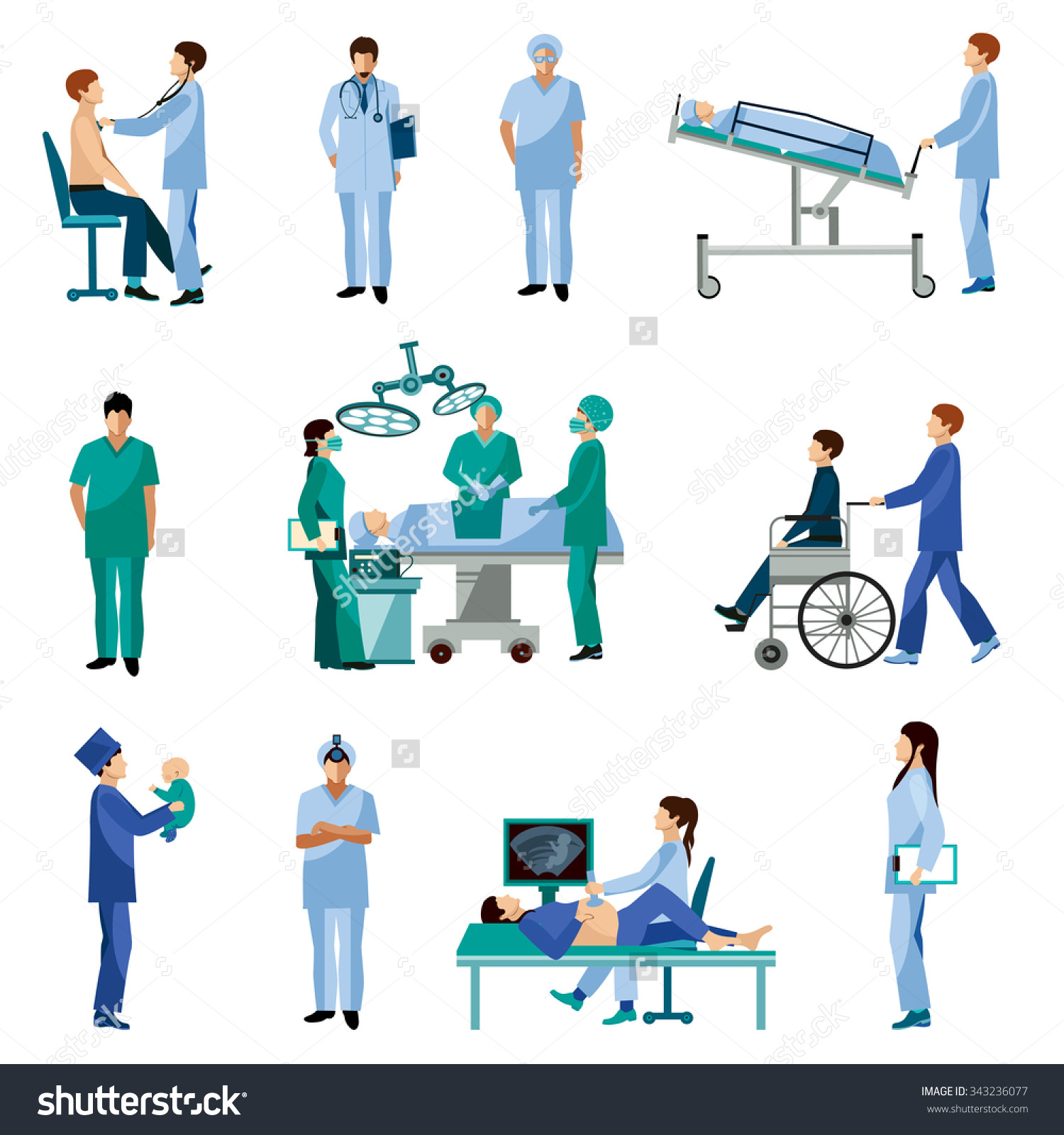 Medical Professionals Work Operation Room Flat Stock Vector.
