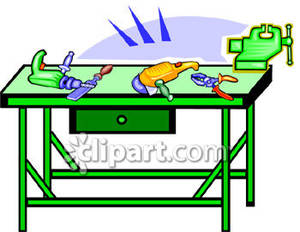 Workbench with Tools Royalty Free Clipart Picture.